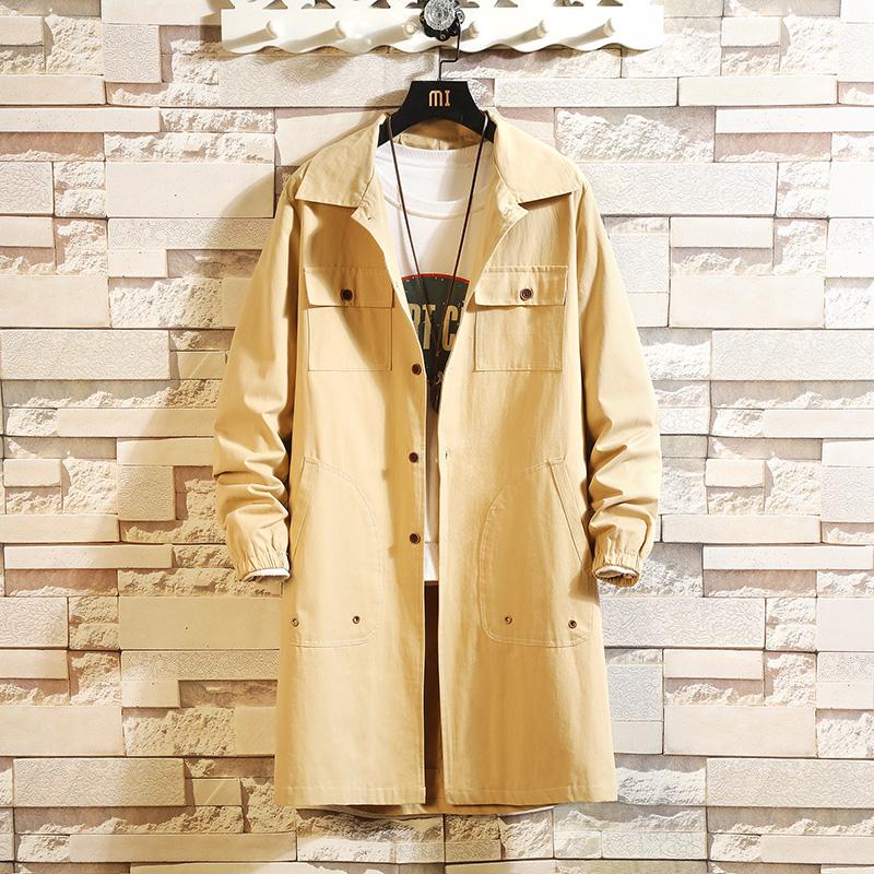 卡其色风衣男春季新款韩版宽松青少年潮流披风中长款外套薄款2020
