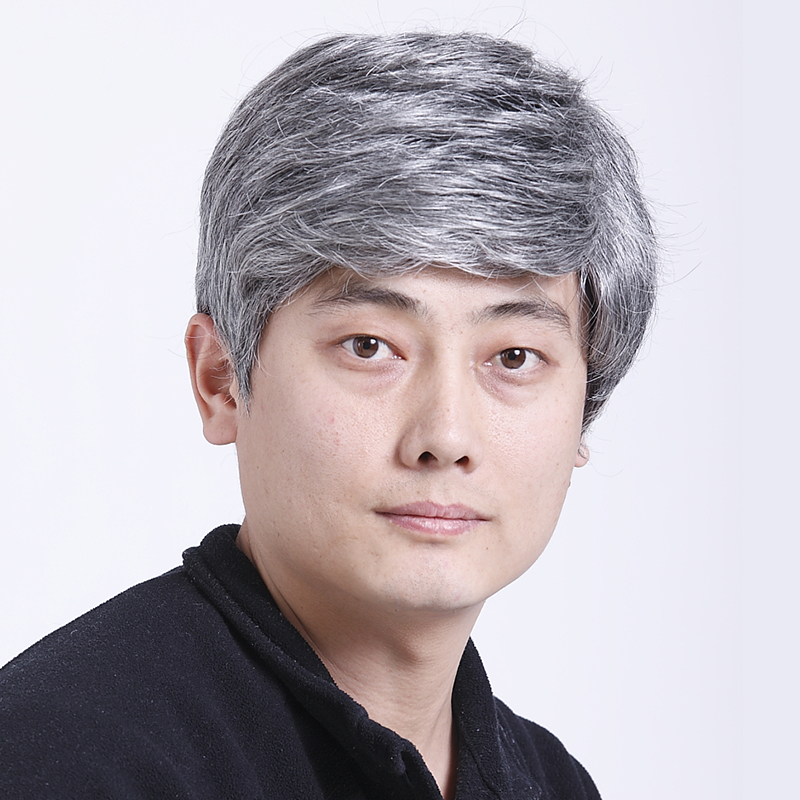 Mens middle aged and elderly fathers short straight hair performance props wig performance white flower old mans fathers headgear