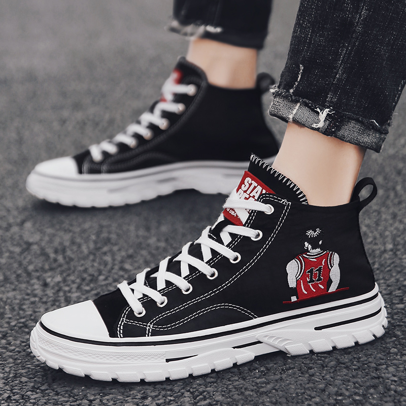 Boys casual shoes summer breathable high top Canvas Shoes Boys Board Shoes versatile black fashion shoes
