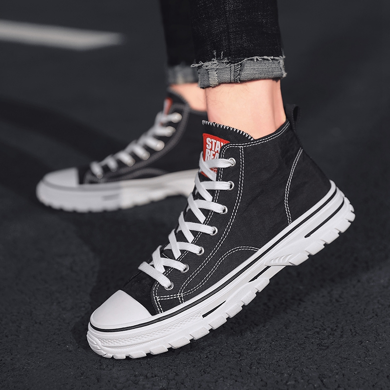 Shoes mens fashion shoes summer breathable high top canvas shoes mens trend mens casual shoes versatile mens shoes black cloth shoes