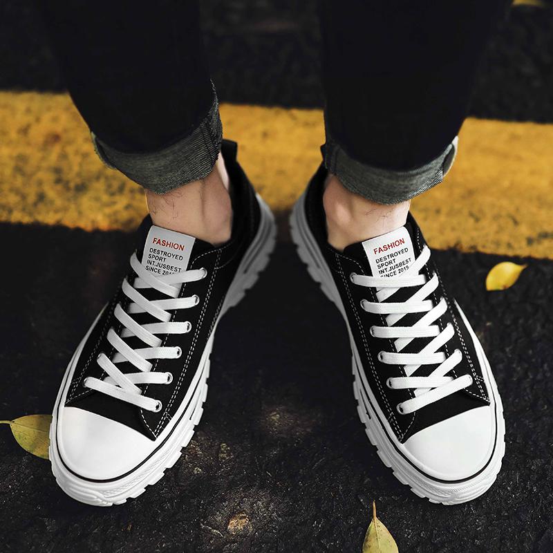 男鞋春季2020新款潮流黑色休闲板鞋男士工装鞋港风街拍潮鞋子厚底