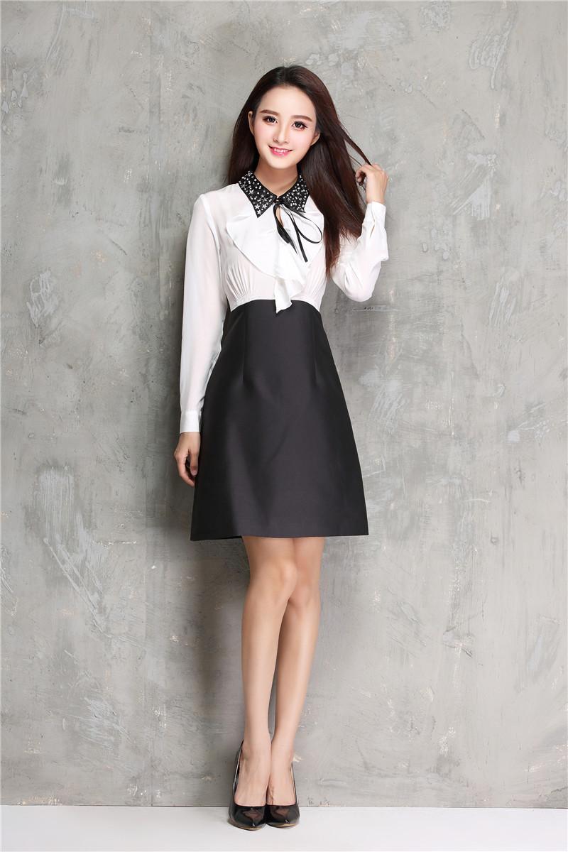 蔷薇家 17早春珍珠星星亮片领长袖真丝连衣裙假两件黑白撞色A字裙