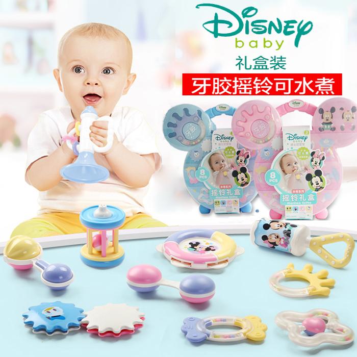 迪士尼早教玩具婴儿磨牙棒宝宝咬咬胶牙胶手摇铃手抓球无毒可水煮