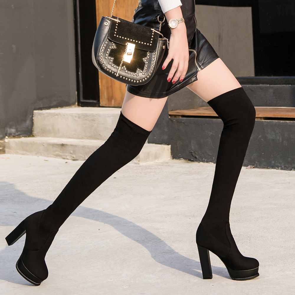 2020 European and American new thin elastic boots knee high boots thick heel waterproof single boot womens boots all kinds of sexy high boots