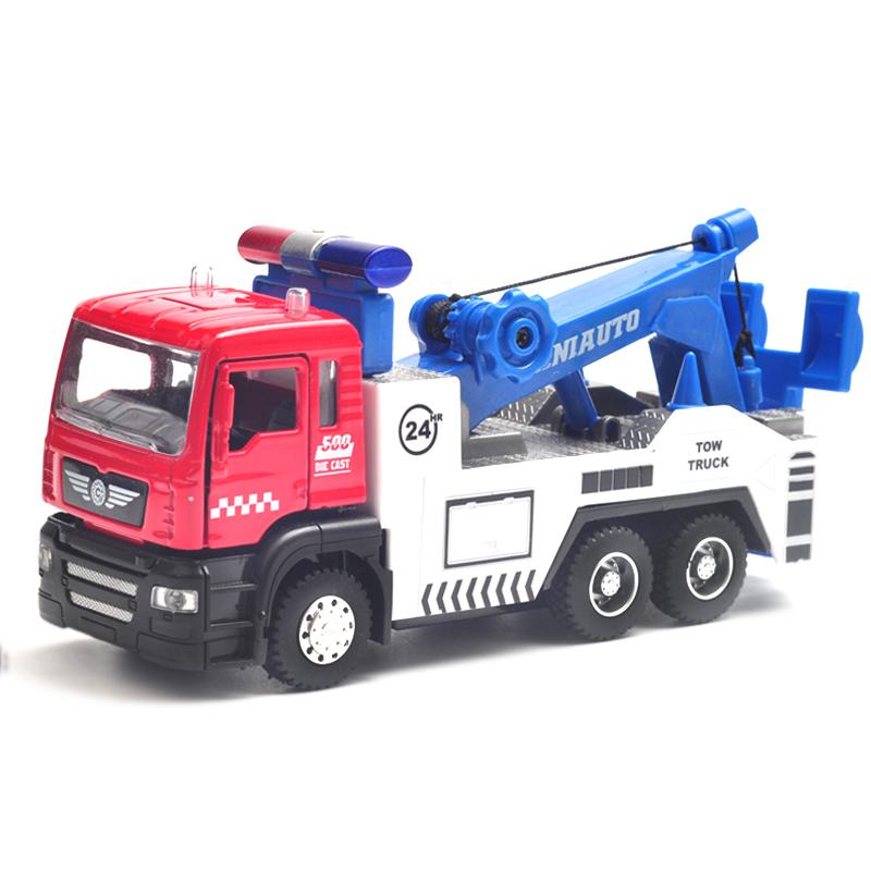 卡威合金工程運輸車模型兒童玩具車男孩消防車吊車聲光回力小汽車