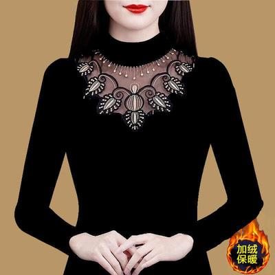 2021新款秋衣蕾丝上衣长袖保暖t恤女士加绒加厚打底衫内搭洋气t血