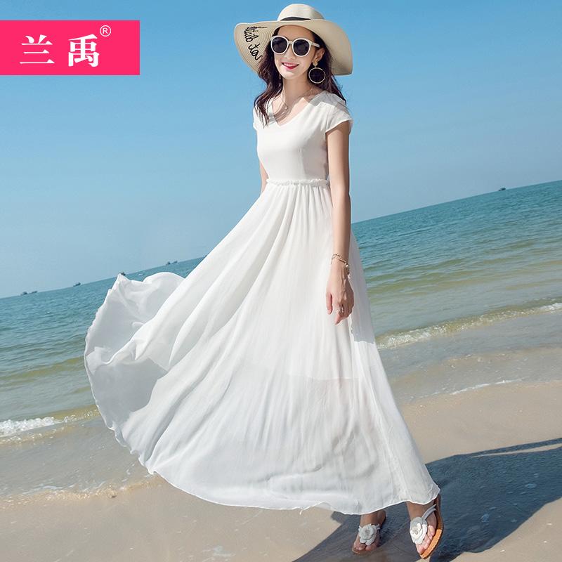 长款连衣裙2019夏季新款白色雪纺长裙海边度假三亚沙滩裙超仙甜美