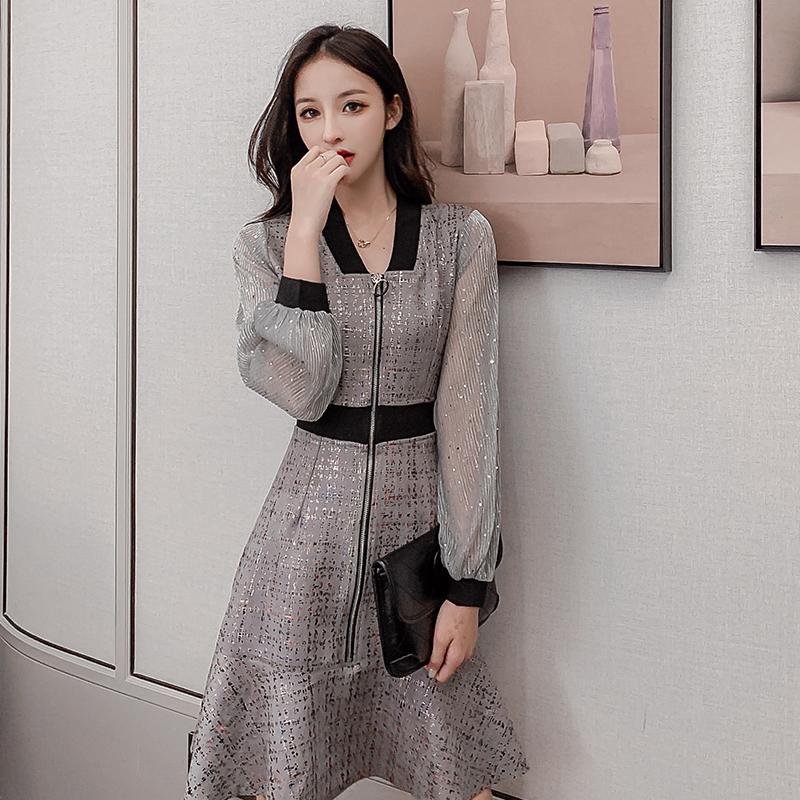 轻奢连衣裙名媛气质春秋冬装2020年新款长袖高端设计感小众女神范