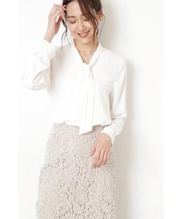 日本原单2021夏女式通勤飘带上衣雪纺衬衣出口外贸优雅长袖衬衫