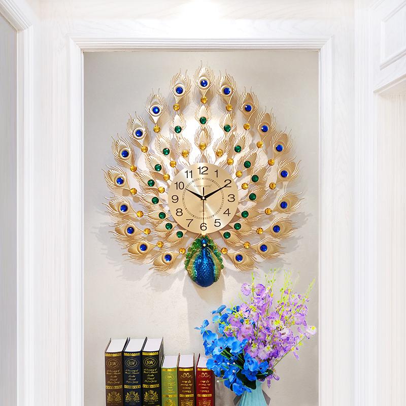 Павлин настенные часы гостиная личность континентальный творческий часы домой мода немой современный декоративный атмосфера кварц часы
