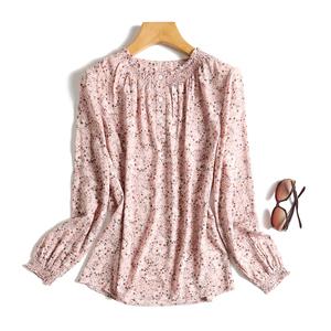 优雅温婉气质褶皱领长袖碎花衬衫宽松显瘦薄罩衫纯棉衬衣女春秋款