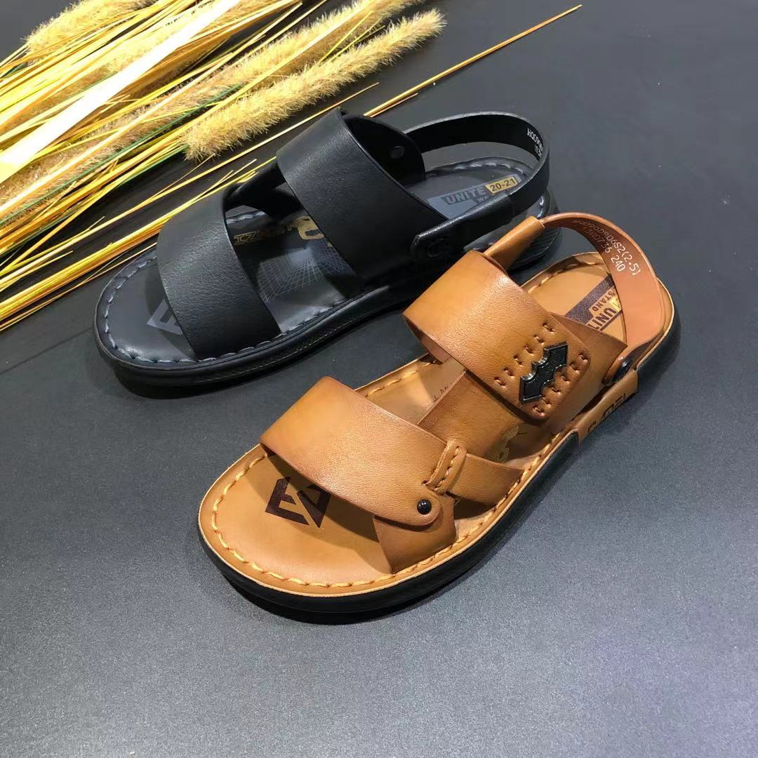 Popular mens sandals 2021 summer new leather leisure soft sole wear dual-purpose non slip breathable beach shoes