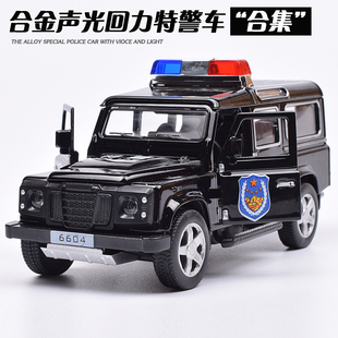 合金仿真悍馬警車兒童聲光回力警車 吉普越野車兒童玩具汽車模型