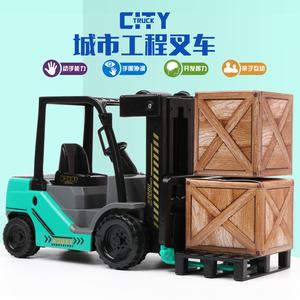 仿真工程车模型儿童大号惯性叉车铲车挖掘机仓库搬货车玩具车模型