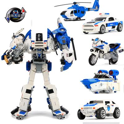 儿童男孩合金变形玩具金刚合体正版模型汽车机器人飞机摩托警察车