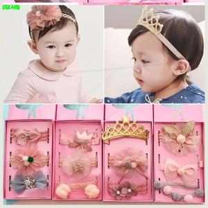 韩国时尚婴儿发带女宝宝蕾丝花朵皇冠弹性发箍公主发饰新生儿头饰