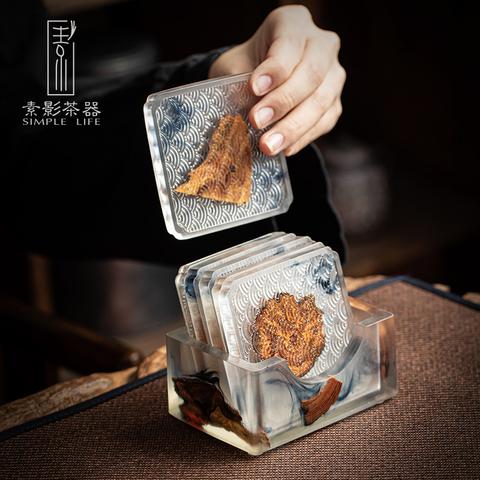 墨染树脂实木杯垫 家用茶杯隔热茶垫水杯茶托套装木质垫茶道配件
