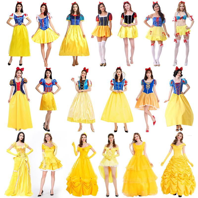 万圣节服装成人白雪公主裙子大人舞台演出cos服贝儿公主裙晚礼服