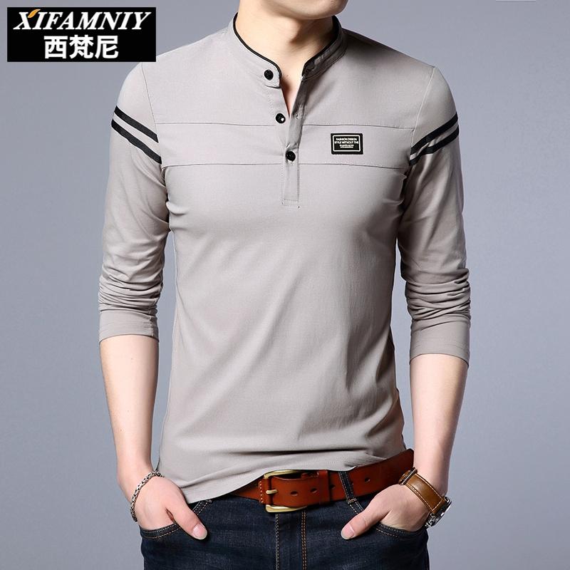 秋季新款男士纯色长袖t恤男装青年立领纯棉修身打底衫上衣服潮流