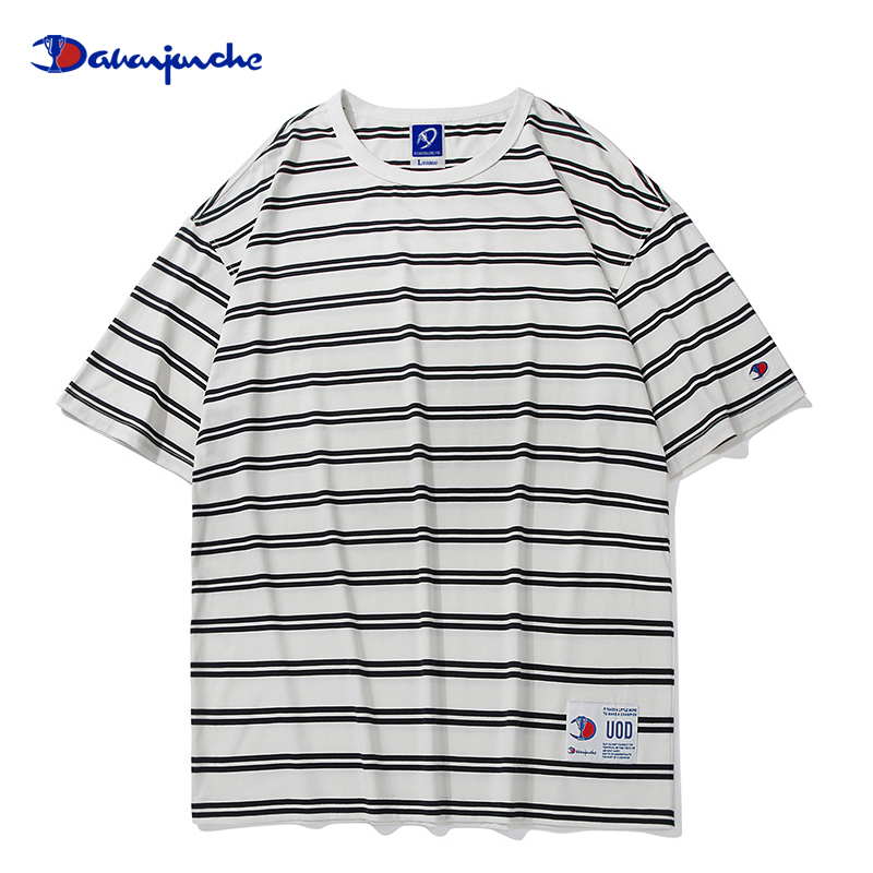 Champion car official website flagship store official stripe short sleeve t-shirt mens summer cotton loose half sleeve fashion brand