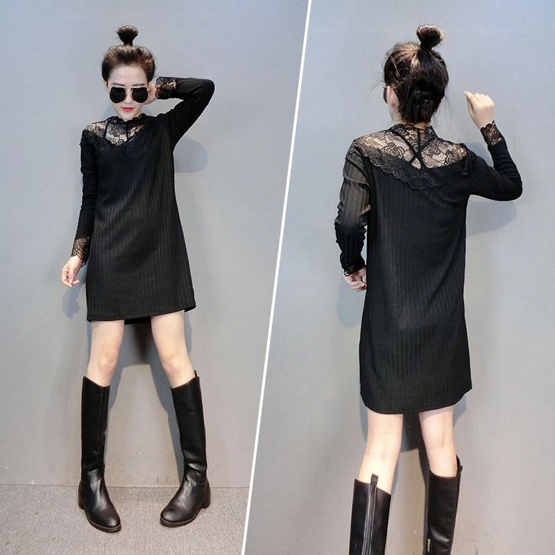 欧洲站春装女2021新款欧货潮时尚百搭港风显瘦减龄洋气蕾丝打底衫
