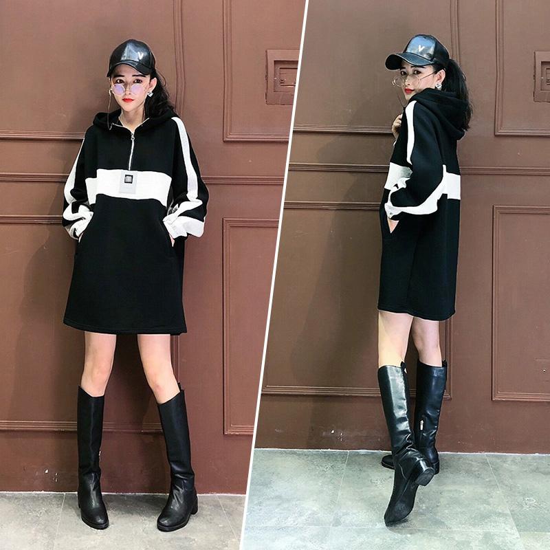 新款欧货潮时尚港风洋气连帽慵懒风卫衣裙