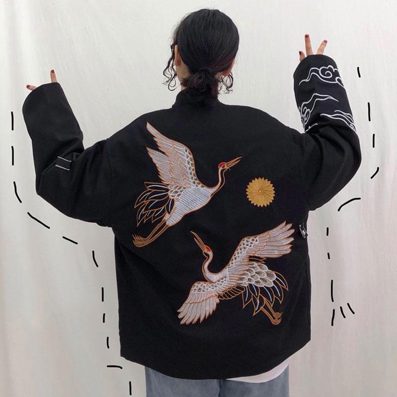 仙鹤刺绣外套日系原宿bf风宽松百搭和风情侣开衫改良和服女学生潮