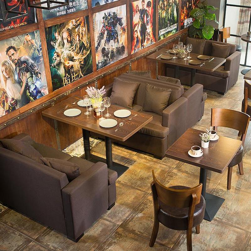 Винтаж Западный ресторан диван-бар бар ресторан питание чайный магазин двойной ткани кафе стол и стул сочетание