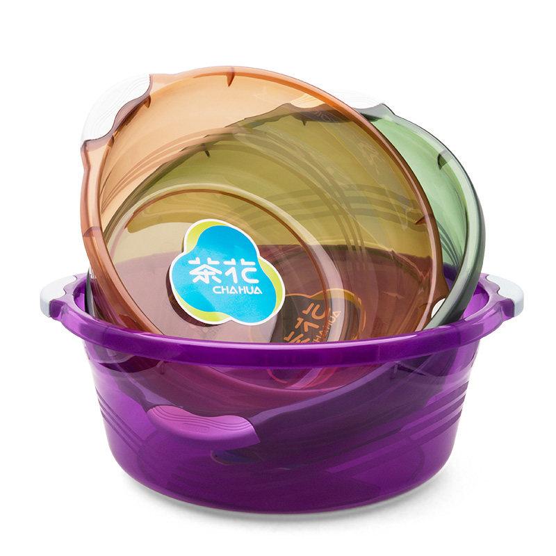 茶花塑料盆洗脸盆加厚盆透明洗衣盆儿童盆子宝宝脸盆三个装
