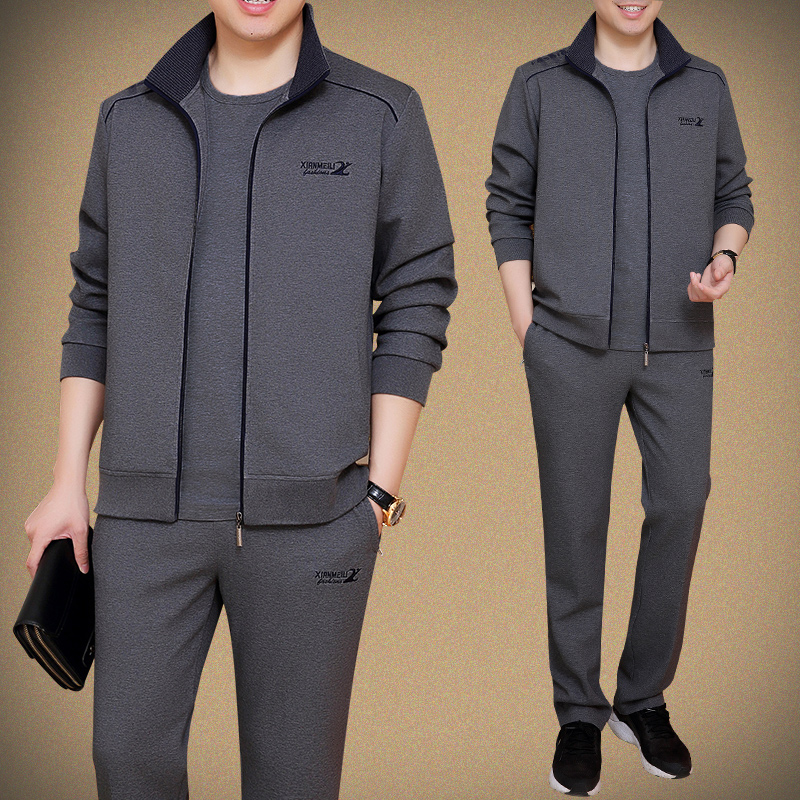 Sportswear suit men's 2021 new spring and autumn middle-aged and elderly men's casual sweater dad jacket