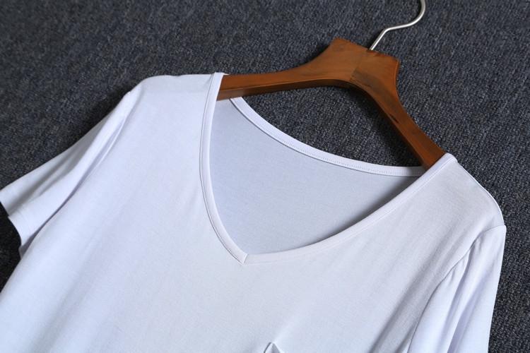 欧美风t恤大码女装短袖莫代尔棉V领口袋宽松纯白色夏装半袖打底衫有赠品