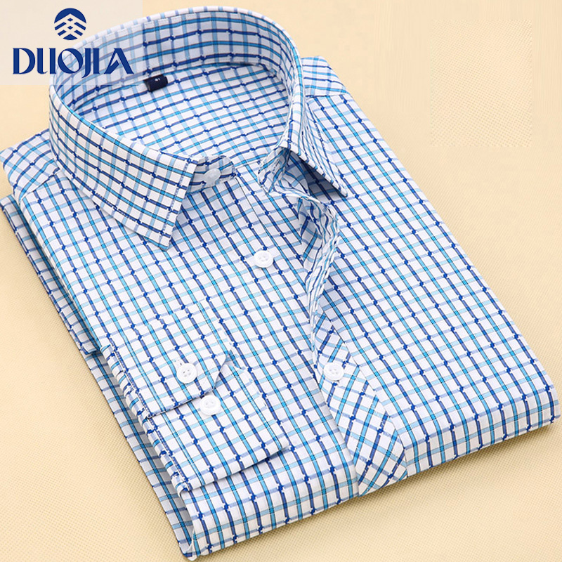 Duojia summer thin cotton plaid mens long sleeve shirt large size business casual shirt 200023