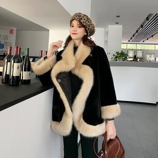 皮草外套女2020秋冬新款仿狐狸毛加厚保暖毛毛披肩斗篷兔毛大衣潮