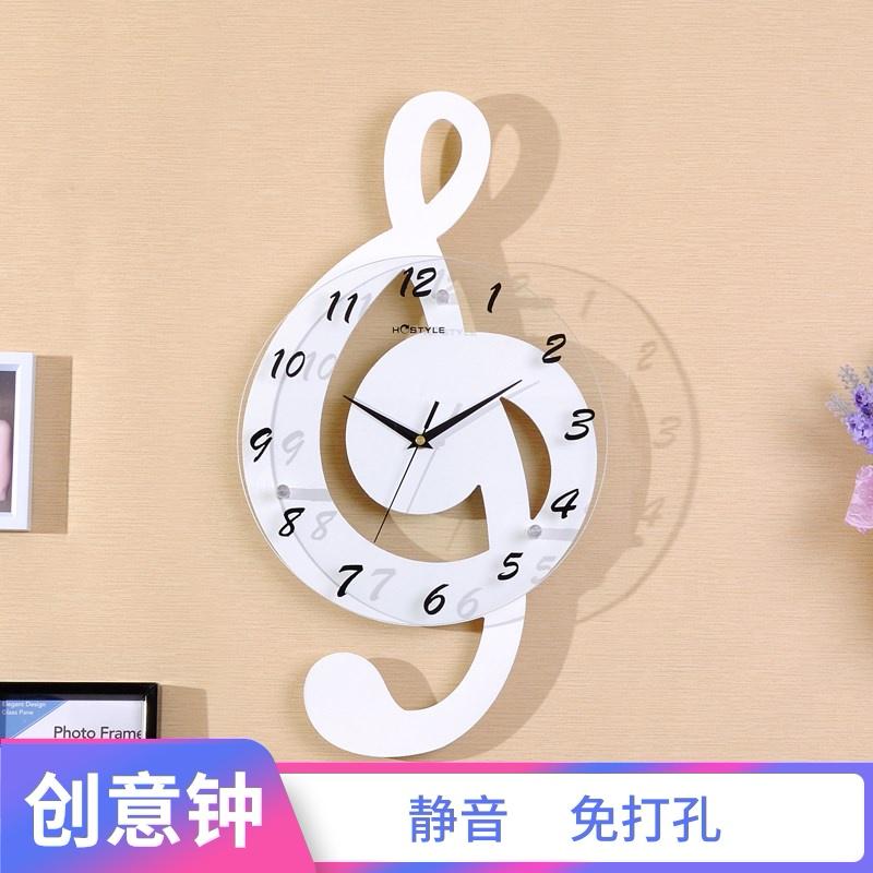 卧室装饰壁挂石英钟 创意个性卡通音符木制挂钟 现代客厅静音时钟