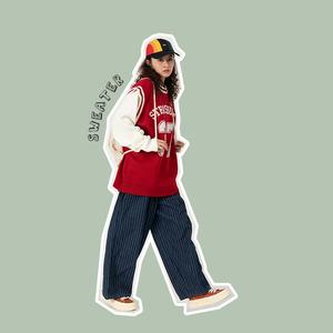 食着SEZOO 韩版学院运动风背心假两件针织衫毛衣女百搭可爱宽松冬