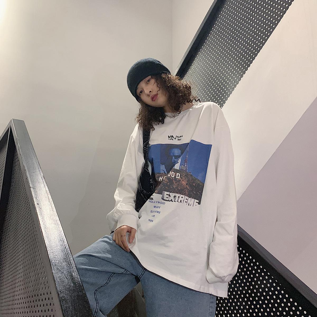 食着SLEEPZOO欧美街头复古嘻哈长袖T恤女 秋季宽松BF休闲打底上衣