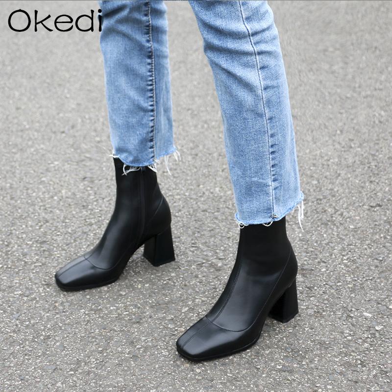 女短靴黑色粗跟