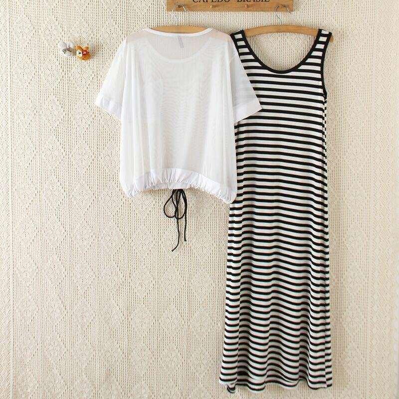 新韩版女夏装短袖莫代尔两件套连衣裙套装防晒背心网纱罩衫条纹好