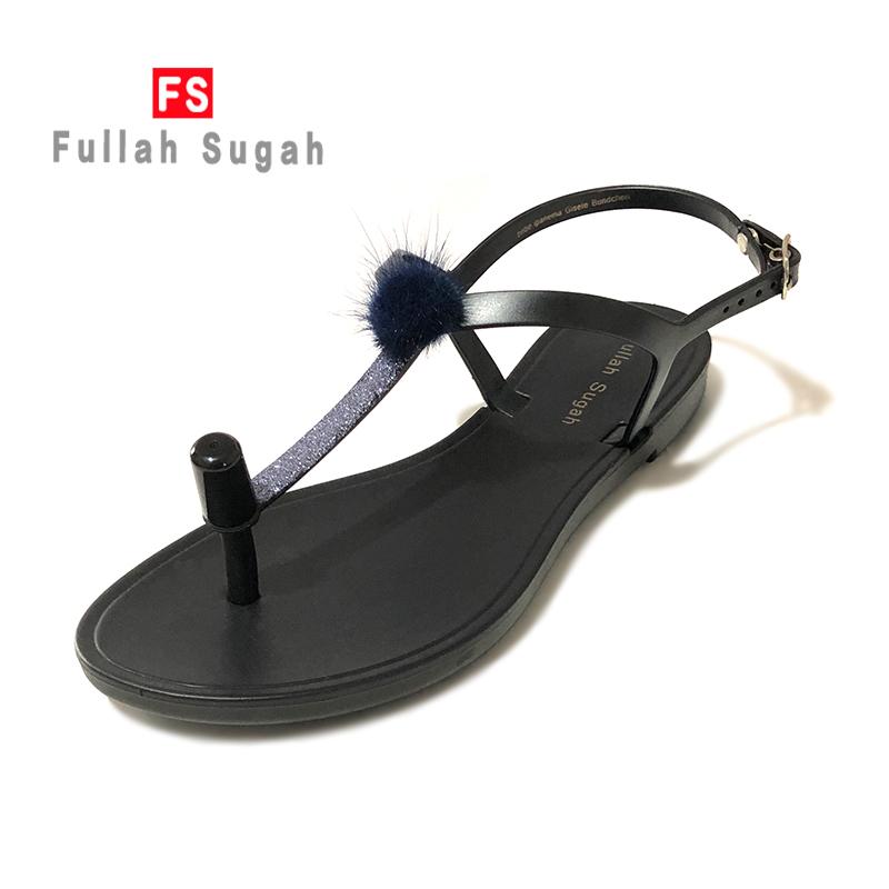 Fullah sugah2020 summer comfort new black wool ball clip toe beach antiskid flat sandals for women