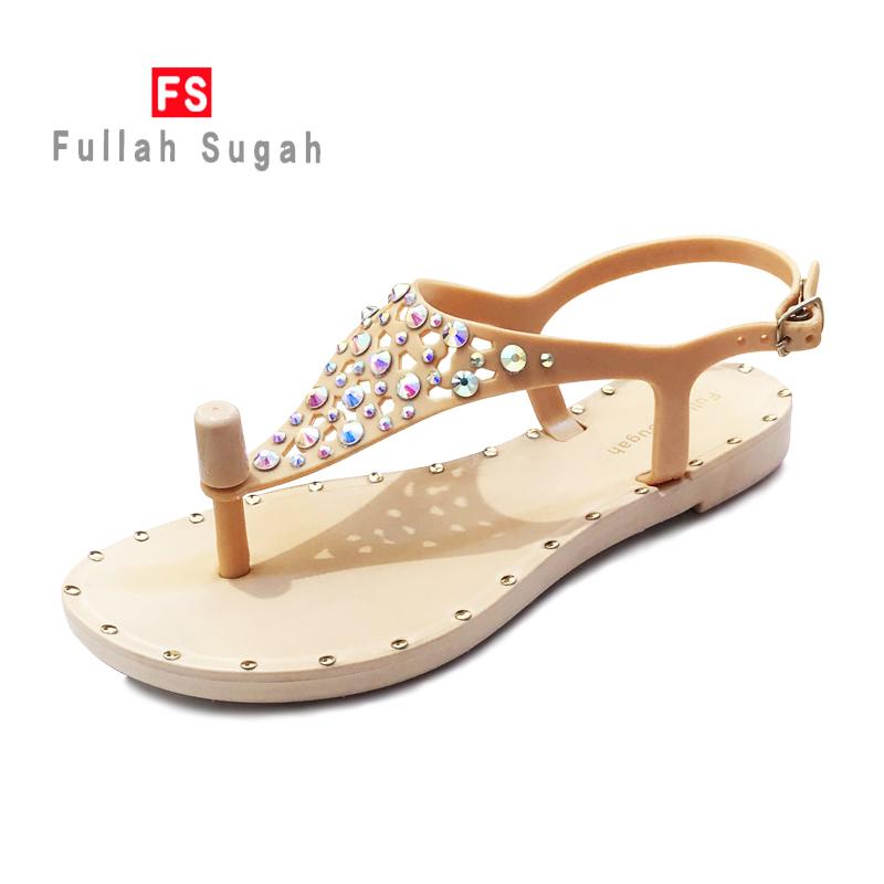 Fullah sugah2020 summer new color diamond fashion beach comfortable flat heel anti slip clip toe sandals womens shoes
