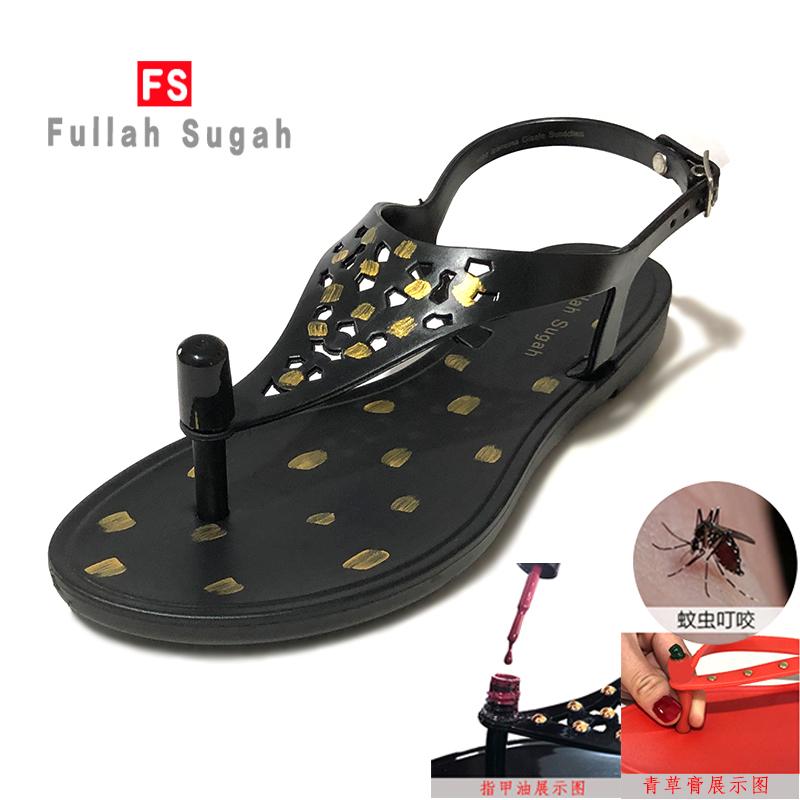 Fullah sugah printed comfortable clip on flat sandals womens summer 2020 new anti slip fashion Roman outer wear
