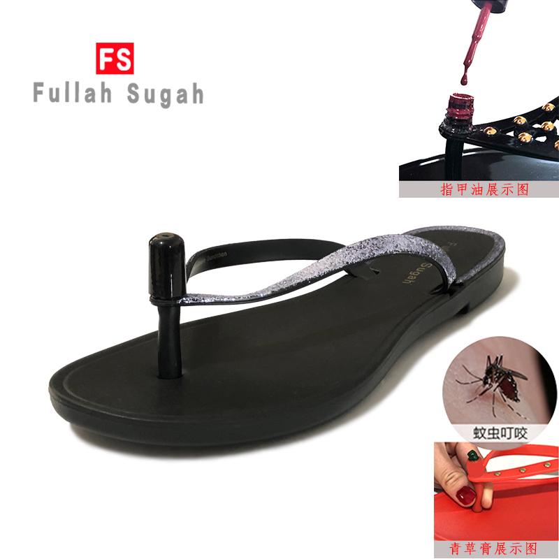 Fullah sugah2020 summer wear new comfortable non slip Black Sequin flip flop flat Beach Womens shoes