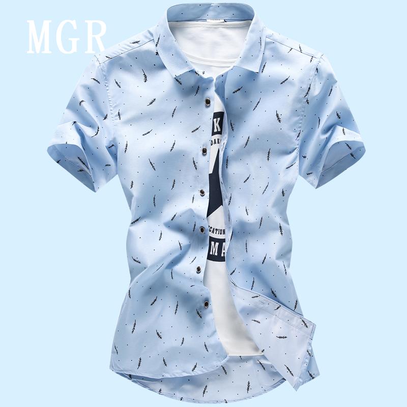 夏日休闲印花短袖衬衫男士休闲韩版衬衣修身型青年ins半袖寸衣男