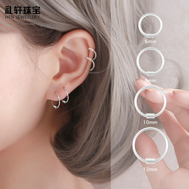 耳钉女纯银耳圈2020年新款潮耳环耳骨钉小耳扣耳饰耳垂骨圈圈银饰图片