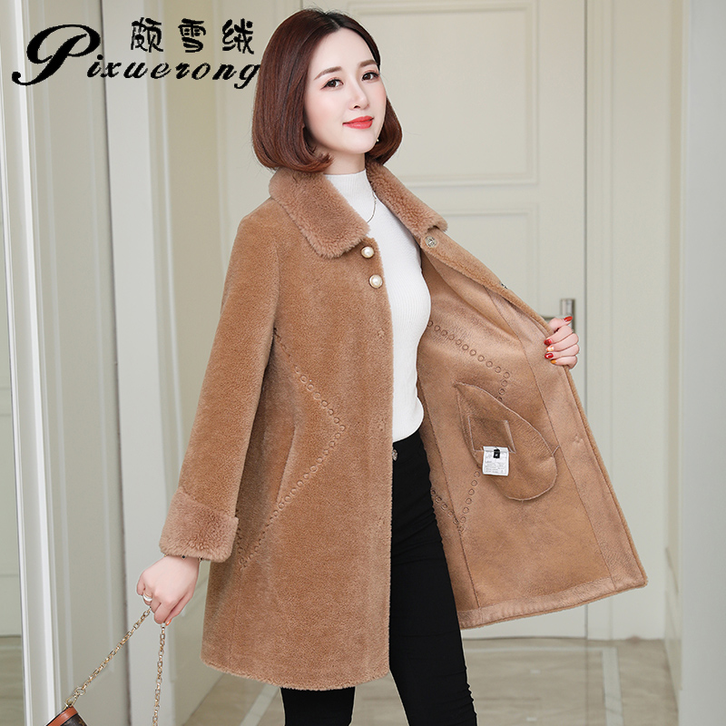 Sheep-sheared Overcoat Female Winter Garment 2019 New Long-style Fur Coat with Korean Particle Wool Fur