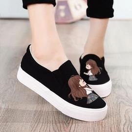 女鞋帆布鞋春韩版平跟懒人松糕底厚底乐福鞋手绘涂鸦休闲学生布鞋