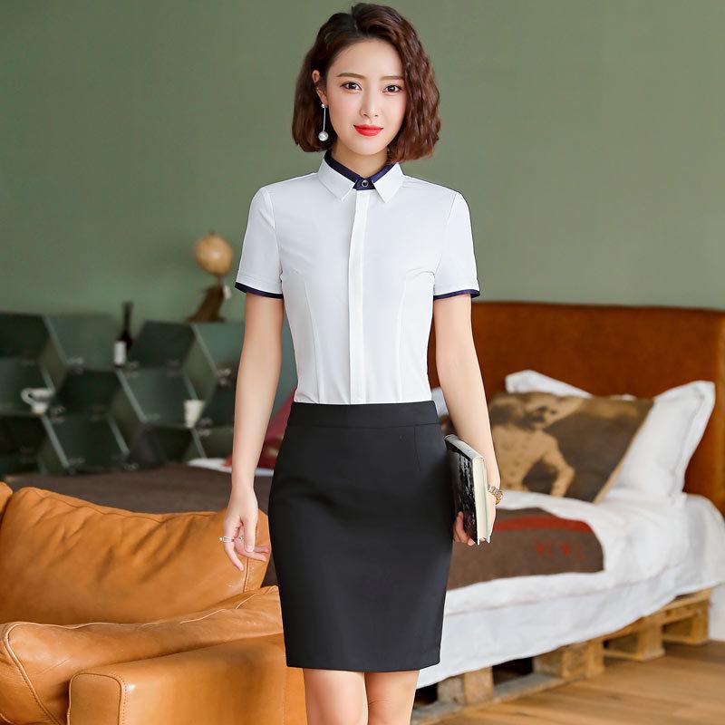 Summer fashion large size large version womens ol shirt work clothes short sleeve Korean white professional shirt temperament