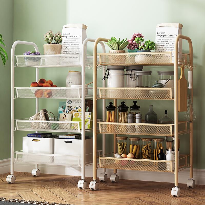 厨房移动小推车置物架带轮子落地多层卧室客厅杂物化妆收纳储蓄架