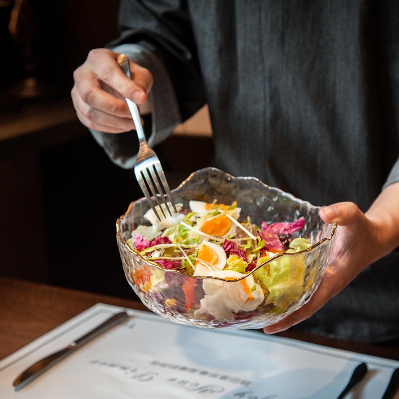 餐具蔬菜沙拉玻璃碗汤碗金边学生透明水果盘甜品泡面碗宿舍创意
