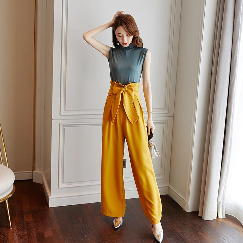 阔腿裤女2020夏季新款时尚女装黄色系带休闲长裤一件代发9462-2